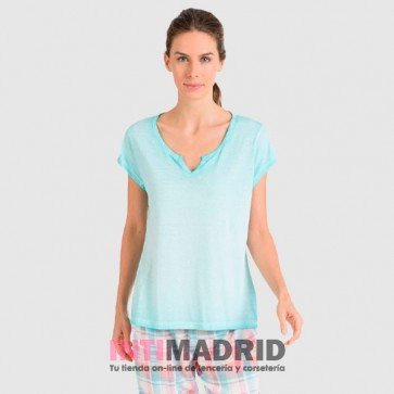 Camiseta de mujer de manga corta Mix and Match turquesa  (P205202) MASSANA